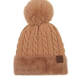 Camel Cable-Knit Faux Fur Pom CC Beanie NWT